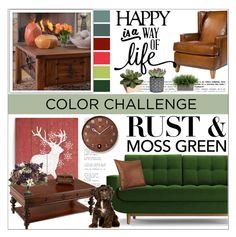"""""""Moss Green and Rust"""" by pattyboombr ❤ liked on Polyvore featuring interior, interiors, interior design, home, home decor, interior decorating, Joybird Furniture, Southern Enterprises, New Rustics and Progressive International"""