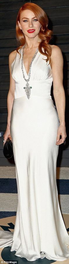 Showbiz beauty: Julianne Hough (left) slid into a white dress, adding a bit of snazz with ...
