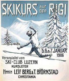 vintage ski poster Skikurs auf der Rigi (1906)