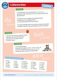 junior einstein, ondersteunend materiaal, lidwoorden, de, het, een, alle groepen School Lessons, School Hacks, Spelling For Kids, Learn Dutch, Beautiful Horse Pictures, Dutch Language, School Info, School Items, Einstein