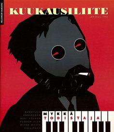 'Kuukausiliite', magazine cover art, by Myka Todistaja, Oct '98, poster art, illustration.