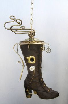 Whimsical Steampunk Inspired Boot Birdhouse by thedustyraven