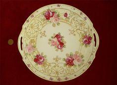 Superb Antique Vtg Nippon Hand Painted Gilt Porcelain Cabinet Plate Pink Roses | eBay