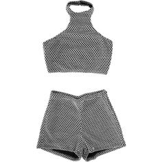Halter 2 Piece (5.515 RUB) ❤ liked on Polyvore featuring tops, shorts, dresses and crop tops