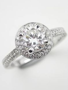 Halo Diamond Engagement Ring  | Topazery, RG-2955, A halo of diamonds surrounds a 1.04 carat GIA certified diamond in this romantic vintage style engagement ring from the Topazery Collection.
