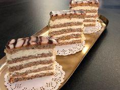 Esterhazy Schnitten Tiramisu, Baking, Ethnic Recipes, Sweet, Food, Pasta, Cakes, Apple Sour Cream Cake, Honey