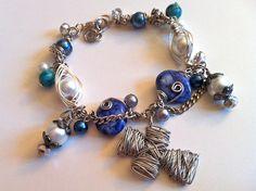 SOLD: Two Hearts Bead As One - Custom Blue Herringbone Wire-wrapped Cross Bracelet #BlackFriday Save 50% on ALL #handmade #jewelry!