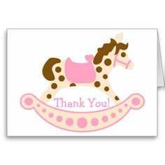 Pink Rocking Horse Birthday Thank You Cards