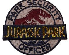 """Jurassic Park PARK SECURITY OFFICER 3"""" Diameter Embroidered Patch"""