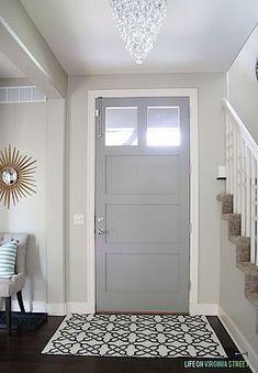 Walls: Behr Castle Path - Door: Behr Elephant Skin. Love these paint colors! Interior Paint Colors, Paint Colors For Home, House Colors, Interior Painting, Painting Furniture, Room Colors, Home Interior, Interior Design, Gray Interior