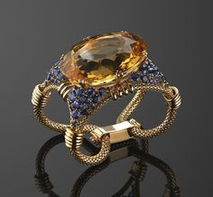 A retro citrine and sapphire cuff bracelet with French hallmarks. Photo courtesy of Fred Leighton