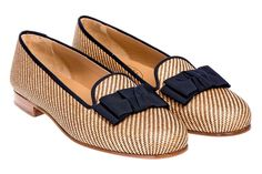 STUBBS AND WOTTON BOW STRAW NATURAL SKIMMER SLIPPER