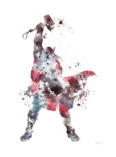 Thor ART PRINT illustration The Avengers Marvel Superhero Home Decor Wall Art