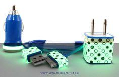 Glow in the Dark iPhone Charger Polka Dot by LunatixGraffiti