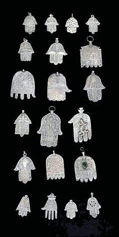 Morocco | Collection of 20 Khamsas (Hand of Fatima) | Silver