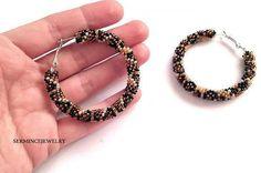 SUMMER SALE Brown Golden Beaded hoop earrings  by SERMINCEJEWELRY