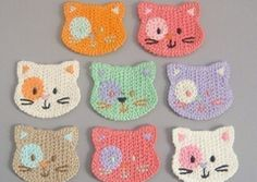 8 Crochet Cat Face Appliques 8 Colors - Qsping - Embroidered Applique - Appliqué - DaWanda