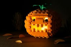 A little Halloween fun without the mess surrounding REAL pumpkin carving. Just use LEGOS! Lego Halloween, Holidays Halloween, Happy Halloween, Halloween Decorations, Lego Pumpkin, Pumpkin Jack, Lego Themed Party, Used Legos, Lego Club