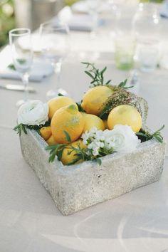 concrete lemon and bloom centerpiece
