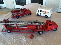 Tonka T F D Fire Truck Set RARE 1950'S .700