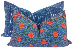 Shoppe by Amber Interiors - Coral & Blue Floral Pillow