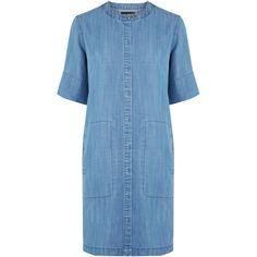 Warehouse Grandad Collar Shirt Dress (€57) ❤ liked on Polyvore featuring dresses, denim, warehouse dresses, blue shirt dress, blue dress, collar dress and denim dress