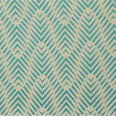 Fabrics - PALMWOOD-TURQUOISE - Fabric | DwellStudio - geometric fabric, geometric turquoise fabric, geometric turquoise and beige fabric,