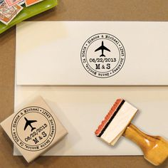 Airplane Custom Address Stamp for Save the Dates & Wedding Invitations. $28.00, via Etsy.