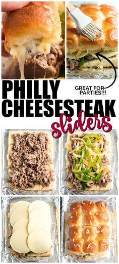 I love how easy and delicious these Philly cheesesteak sliders are. Sweet Hawaiian rolls are layered with tender steak, melted cheese plus onion and peppers for a delicious meal that will be a big hit with your gang. They're ideal for a busy weeknight d Best Philly Cheesesteak, Philly Cheese Steak Sliders, Philly Cheese Steak Sandwich Recipe Easy, Game Day Snacks, Game Day Food, Tender Steak, Snacks Sains, Slider Recipes, Le Diner