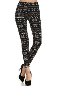 Grey Snowflakes Design Leggings