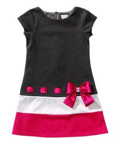 Black & Pink Bow Drop-Waist Dress - Toddler