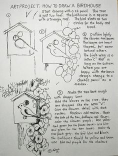 How to Draw Worksheets for Young Artist: How To Draw A Birdhouse Project and Worksheet