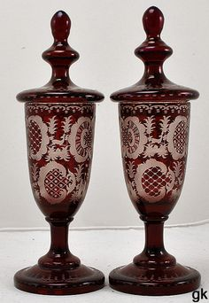 Glass Stunning Pair Of Vintage Czech Ruby Red Glass Hand Cut To Clear Vanity Bud Vase Art Glass
