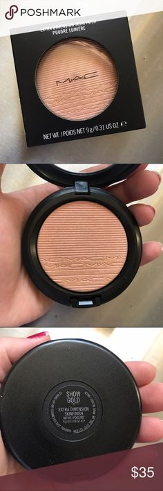 Mac Show Gold Skin Finish Highlighter Brand new, never been swatched, and in perfecr condition. I've had it for almost 2 months and haven't touched it so I'm selling it:) It looks extra beautiful on olive tone skin but it looks great on all! Open to offers through the offer button. No Trading. MAC Cosmetics Makeup