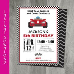 Race car birthday invitation card ticket racing customizable race car party invitation self editable template go kart birthday instant download stopboris Images