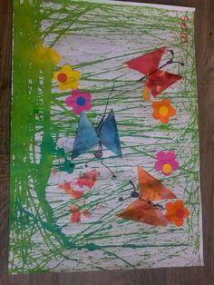 Bloemenweide met vlinders. Gras gemaakt mer verf en Knikker in doos. Bloemen en vlinders erop plakken. @storkschool