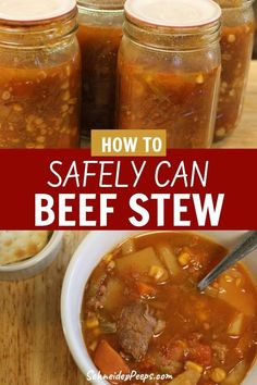 Home canned beef stew is a wonderful way to prepare for emergencies - big or small. Your family is sure to love this recipe for canning beef stew in a pressure canner. Canning Soup Recipes, Pressure Canning Recipes, Canning Pressure Cooker, Pressure Cooker Recipes, Cooking Recipes, Canning Tips, Pressure Cooking, Vegetable Beef Soup Canning Recipe, Sauce Recipes