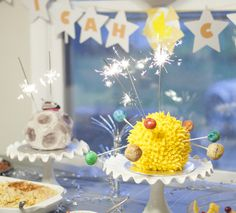 Adorable and simple space party for two kids
