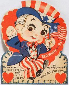 J287 40s Uncle Sam Jumps for Joy! Flag-Vintage Mechanical Diecut Valentine Card