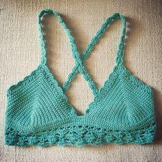 She wore an itsy bitsy teeny weeny... criss cross back crocheted bikini??  Made this cute lace bikini top in my favorite color! Can it be summer already?! ☀️ #EllieDeeDesigns Crochet Crop Top, Crochet Bikini, Knit Crochet, Lace Bikini, Bikini Tops, Crop Top Pattern, Summer Bikinis, Boho Baby, Crochet Fashion