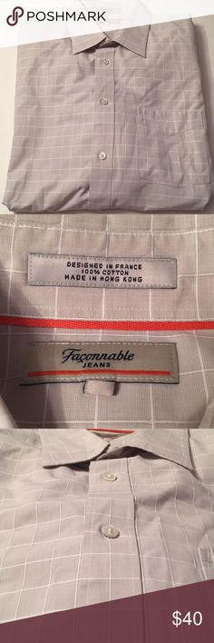 Faconnable jeans men's XL button up shirt Faconnable jeans men's button up shirt size XL. Light grey with white checkers. Great quality shirt with no flaws. Perfect with jeans or a suit. Excellent used condition!! faconnable Shirts Casual Button Down Shirts