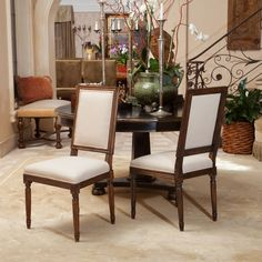 Set of 2 Colonial Inspired Design Dark Wood Frame Khaki Fabric Dining Chairs #GreatDealFurniture #Colonial
