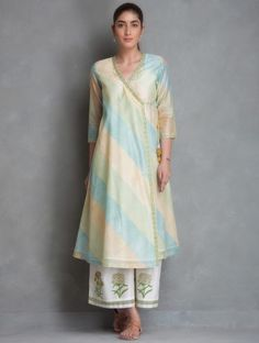Blue-Green-Yellow Block Printed Chanderi Angrakha Kurta
