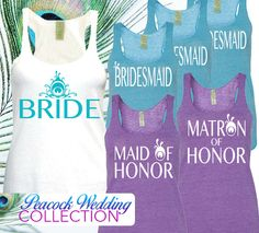 Peacock Wedding // Peacock Bridal Tank Top // Peacock Feather // Peacock Bride // Purple Turquoise Teal Wedding on Etsy, $26.00