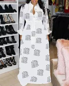 Plus Size Fashion Print Casual Maxi Dress Plus Size Maxi Dresses, White Maxi Dresses, Large Size Dresses, Casual Dresses, Dresses Dresses, Dresses With Sleeves, Fall Dresses, Yellow Fashion, White Fashion