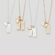 Gift for Her - Personalized Small Tag Necklace - Simple Initial Heart Necklace - Gold Fill, Sterling Silver, Rose Gold - - Halskette Ideen Gold Bar Necklace, Simple Necklace, Initial Necklace Gold, Initial Jewelry, Engraved Necklace, Cute Jewelry, Jewelry Necklaces, Jewellery Box, Mom Jewelry