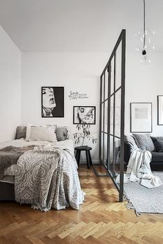 In a studio apartment where there aren't many walls to mark the boundaries of rooms it becomes a must to invest in a room divider. We have discovered some cool room divider ideas. In a studio apartment while dividing your… Continue Reading → Studio Apartment Divider, Studio Apartment Design, Studio Apartment Decorating, Apartment Interior, Cozy Apartment, Studio Design, Modern Studio Apartment Ideas, Bohemian Studio Apartment, Studio Apartment Kitchen