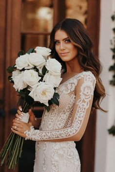 Galia Lahav sets a new standard for elite fashion in Israel and worldwide. Find made-to-order garments created exclusively to your liking and measurements. White Roses Wedding, Rose Wedding Bouquet, Bridesmaid Bouquet, Floral Wedding, White Rose Bouquet, Wedding Bells, Wedding Bride, Wedding Dress Illustrations, Wedding Styles
