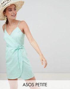 ce68d6b85b3 ASOS DESIGN Petite linen wrap side mini sundress