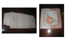 This is a tri-fold card whose backing is an A4 size, allowing 35 people to sign. The fronts are hinge glued to the back.  The vines are in 2 different colours to give lift and the flower center is a pearl button with the shank cut off.  The love heart border is punched. All joins inside are covered and to give relief from the white, further vines are centered on each panel. In all, one on the easiest farewell cards I've made for work!